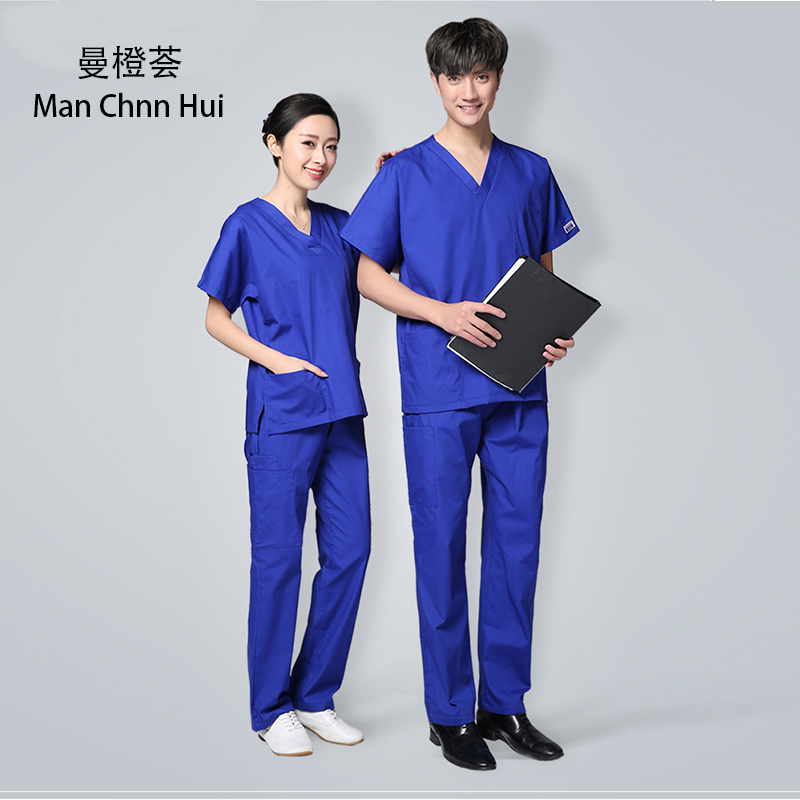 Medical Beauty Salon Scrub Set Short Sleeve Men Surgical Medical Uniform New V-Neck Summer Doctor Clothes Nurse Uniform