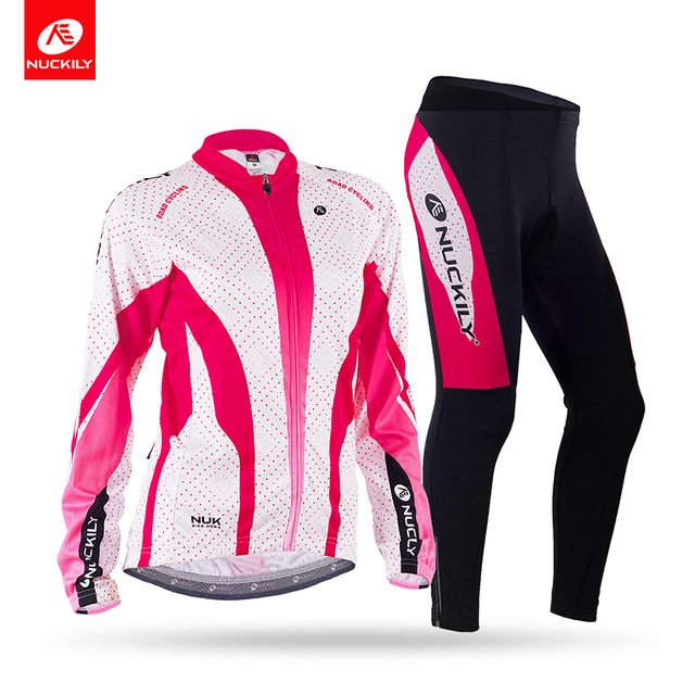 NUCKILY Spring/Autumn women long sleeve breathable wicking cycling wear jersey suit GC003GD003