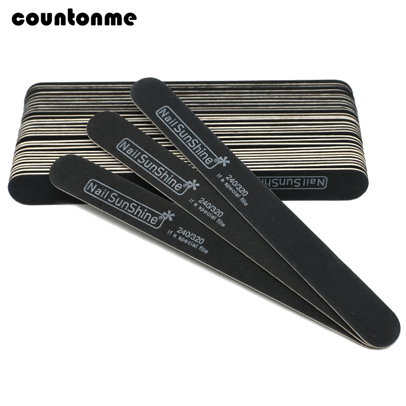 10pcs Wooden Nail File 240/320 Black Strong Thick Professional Nail Buffer Sandpaper Buffing Sanding Files Straight Lime A Ongle