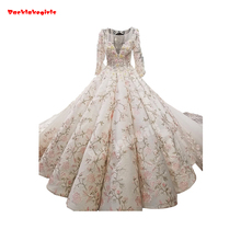 2018 Beautiful High End LaceTrain Prom Dresses Ball Gown