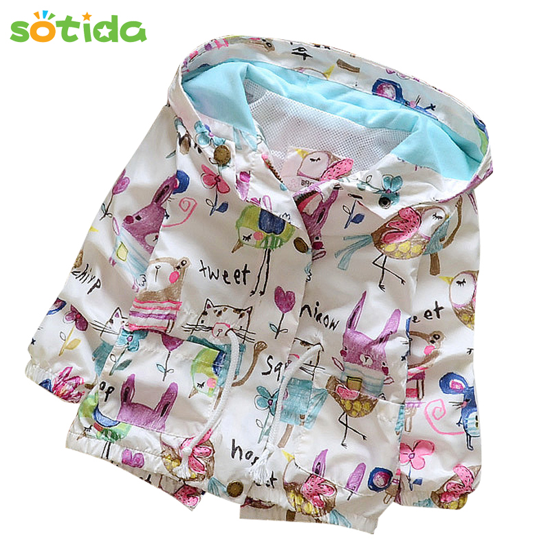 Fashion Baby Girls Coats 2016 Autumn Girls Jackets Clothes Hooded Graffiti Printing Outerwear&Coats Kids Children Clothing 4-24M