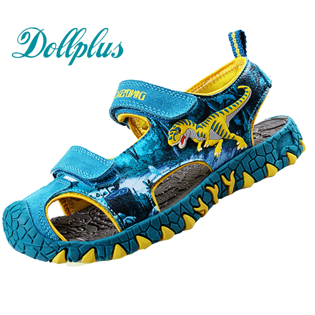 2017 мальчиков сандалии мерное динозавров мода дети летняя обувь вырезать нескользящей пляжные мальчики обувь для детей мальчик