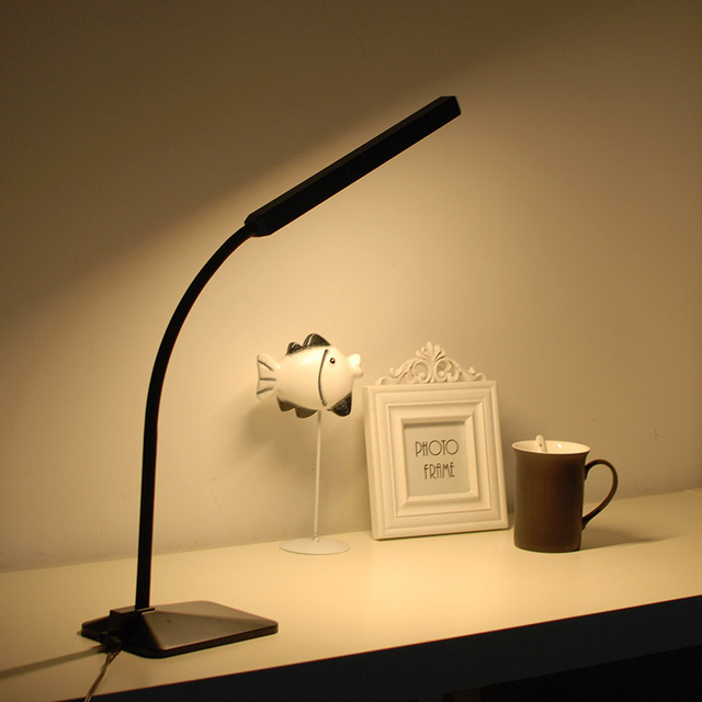 LINGSHENG Gooseneck LED Desk Lamp Touch Dimmable Eye Protection Bedside Book Reading Study Office Work Table Lamp Night Light