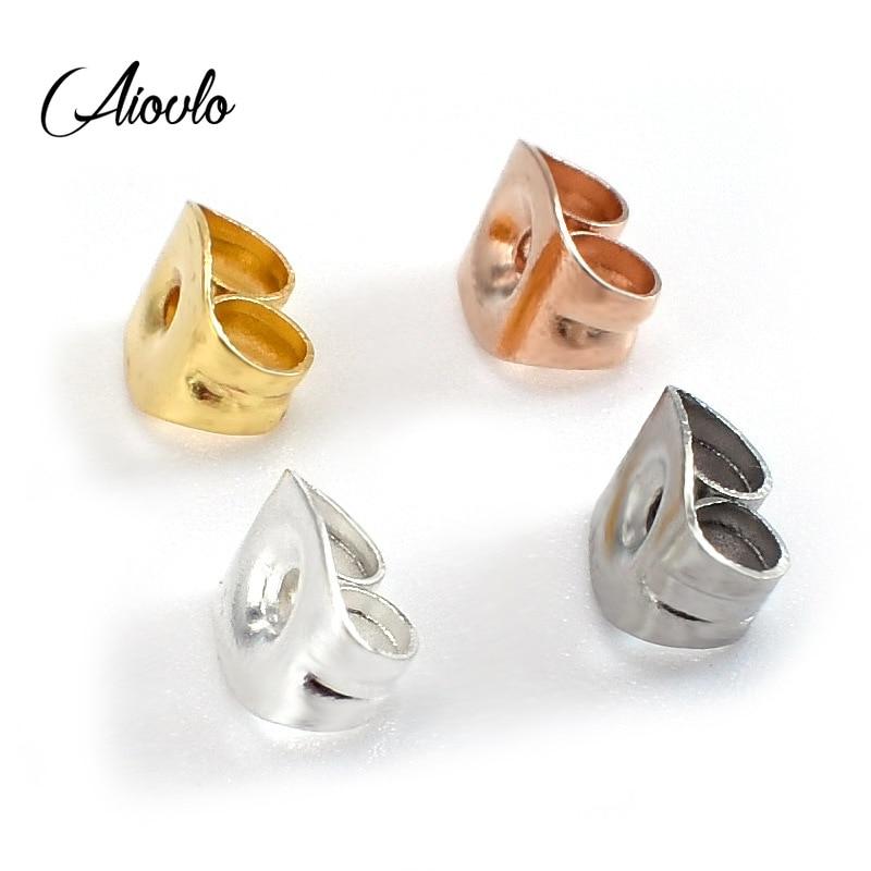 100pcs/lot Stainless Steel Hard Earring Backs Butterfly Ear Back Stud Earrings Care Cap Women's Earring DIY Jewelry Ear Pin Back