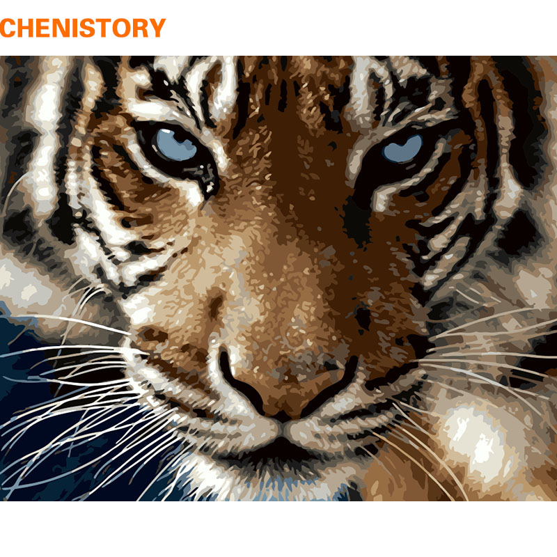 CHENISTORY Immagine Tigers Pittura di DIY Dai Corredi di Numeri Animali Moderni di Arte Della Parete Dipinta A Mano della Pittura A Olio Per Il Regalo Unico 40x50 cm