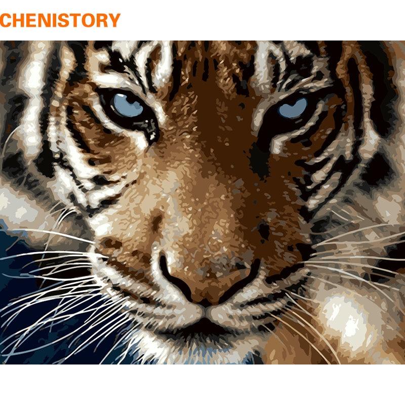 CHENISTORY Bild Tigers DIY Malerei Durch Zahlen Kits Tiere Moderne Wand Kunst Handgemalte Ölgemälde Für Einzigartige Geschenk 40x50 cm