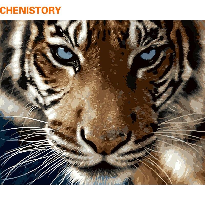 Imagen de CHENISTORY Tigers pintura DIY por números Kits animales pared moderna pintura al óleo pintada a mano para regalo único 40x50 cm