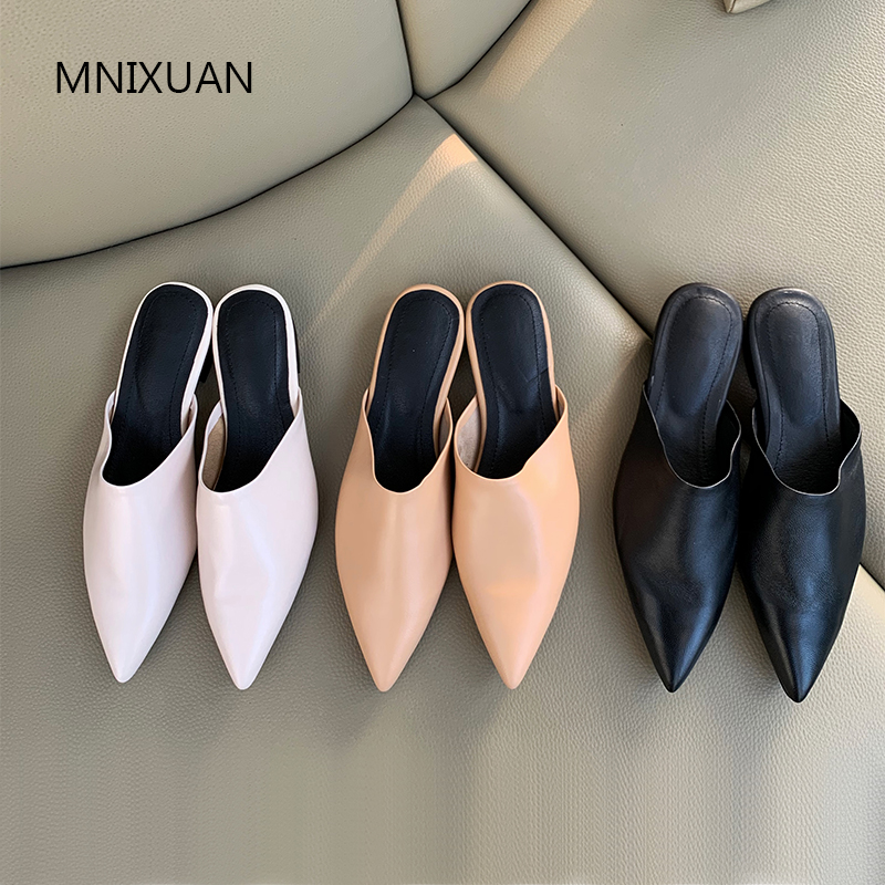 MNIXUAN Comfortable women flats shoes casual ladies mules 2019 new arrival sheepskin leather pointed toe slip