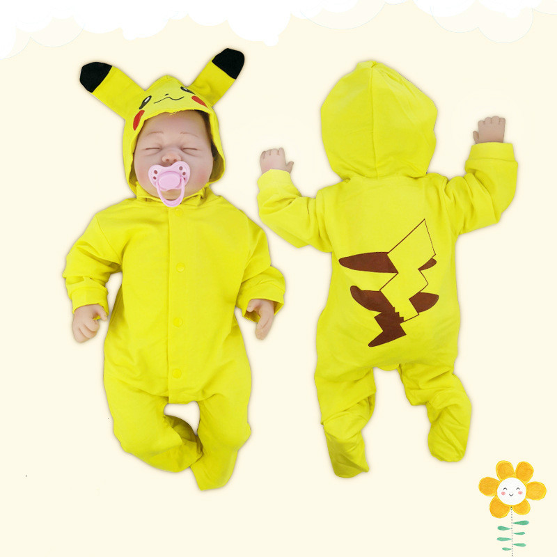 Newborn Baby   Rompers   Cartoon Pokemon Boy Clothes Cotton Baby Jumpsuits Summer Long Sleeve Toddler Outfits Girl Wrap Foot   Romper