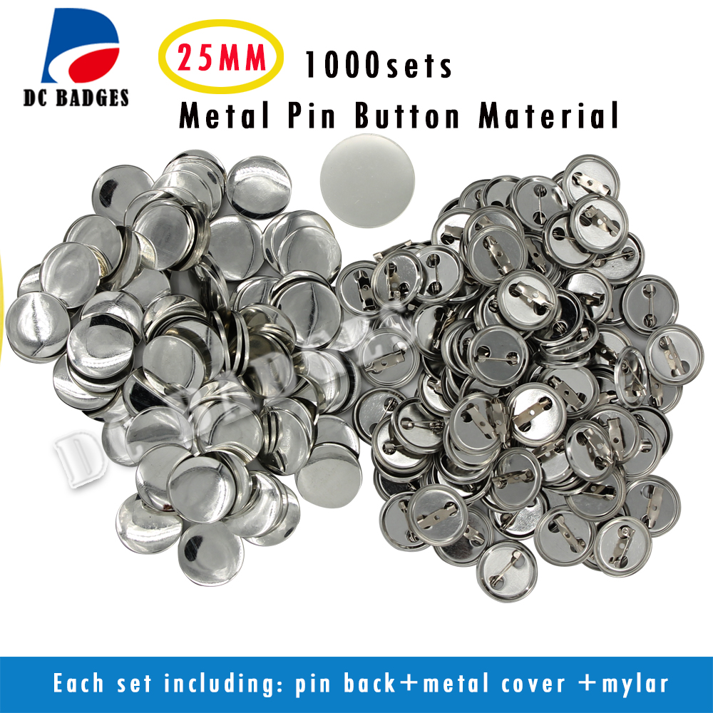 Free Shipping 1 25mm 1 000sets Metal Pinback Badge Material Blank button parts Tin badge components