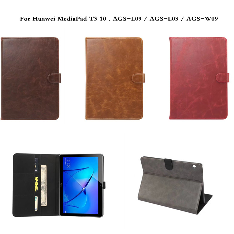 Luxury Retro Vintage Flip Wallet Style PU Leather Case Stand Cover For Huawei MediaPad T3 10 T 9.6 inch AGS-L09 AGS-L03 AGS-W09 retro crazy horse wallet stand leather cover for iphone 7 4 7 inch grey