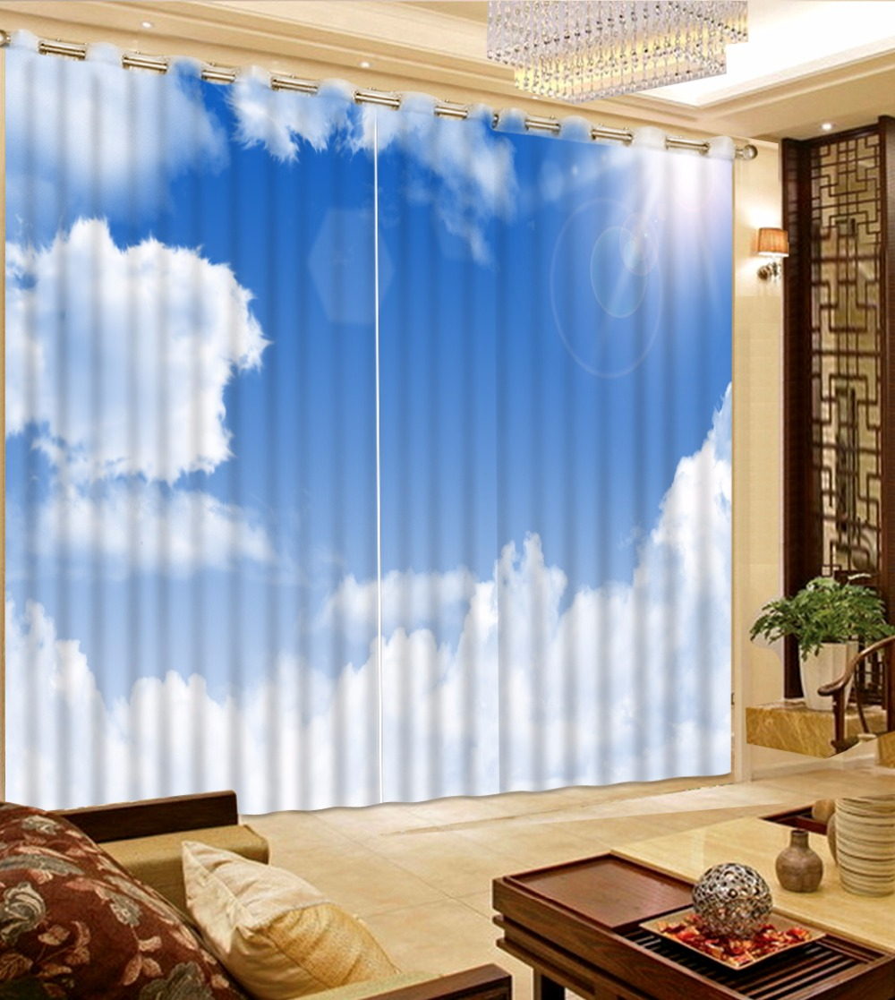 Modern Curtains For Bedroom Photo Window Curtain blue clouds white sky 3D Blackout Curtains For Living room
