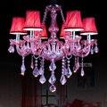 Европейская роза красная свеча K9 хрустальная лампа в средиземноморском стиле для спальни столовой декоративные люстры бесплатная доставк...