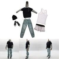 1/6 Men Long Sleeve Hoodie Denim Jeans Cap Canvas Shoes &Vest & Underwear Set for 12inch Action Figure Accessories