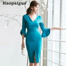 купить Plus Size 2019 Summer Bandage Dress Women V-neck Flare Sleeve Bodycon Sexy Dress Women Blue Split Midi Wrap Party Dresses Ladies по цене 1891.51 рублей