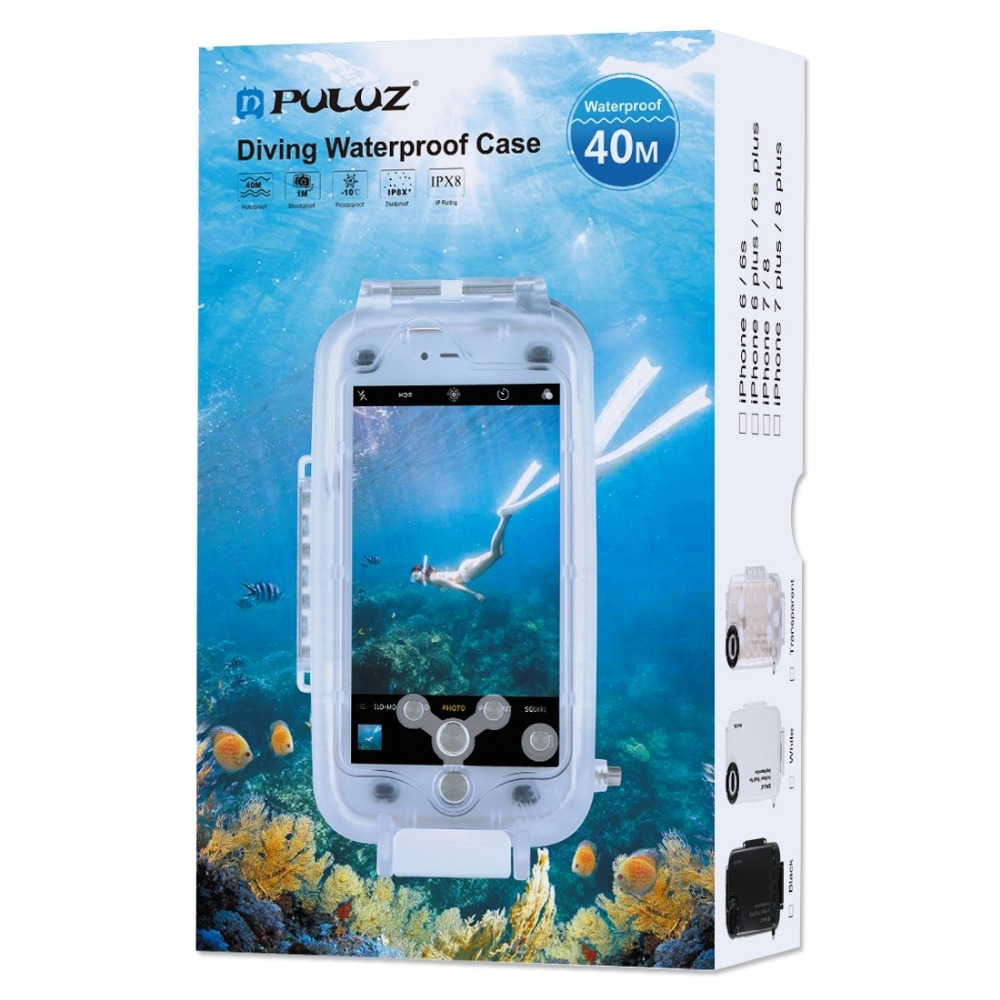 PULUZ 40m/130ft Underwater Diving Phone Protective Case for iPhone XS XR 8/7 Plus for Huawei P20 PRO For Galaxy S9PULUZ 40m/130ft Underwater Diving Phone Protective Case for iPhone XS XR 8/7 Plus for Huawei P20 PRO For Galaxy S9