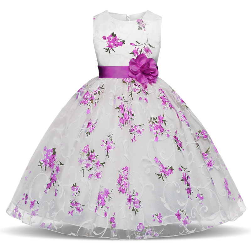 Girl floral princess party dress girls dress summer children clothing wedding birthday baby dress tutu 3-8 Y baby girl clothes 2018 children s clothing new short sleeved girls printed shoulders children princess puff dress baby girl clothes baby