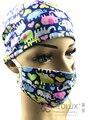(10 unids obtenga un 20% de descuento) impresión colorida tapa médico cirugía tapa y traje de máscara 2 unids (cap + máscara)