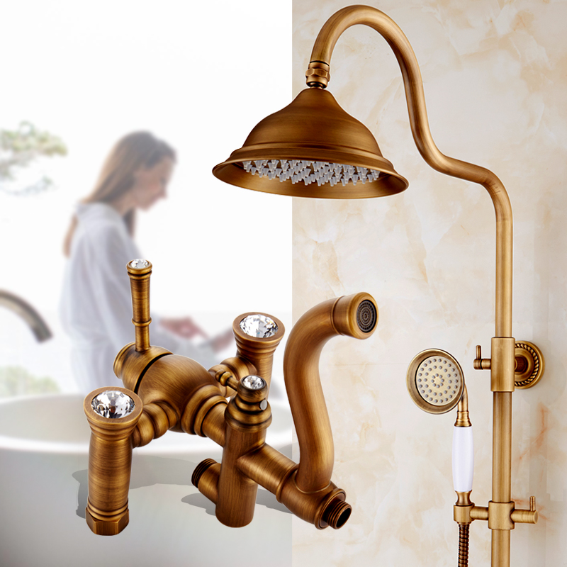 Antique copper diamond shower faucet set shower head, Bathroom wall mounted rain shower faucet mixer water tap brass shower set china sanitary ware chrome wall mount thermostatic water tap water saver thermostatic shower faucet
