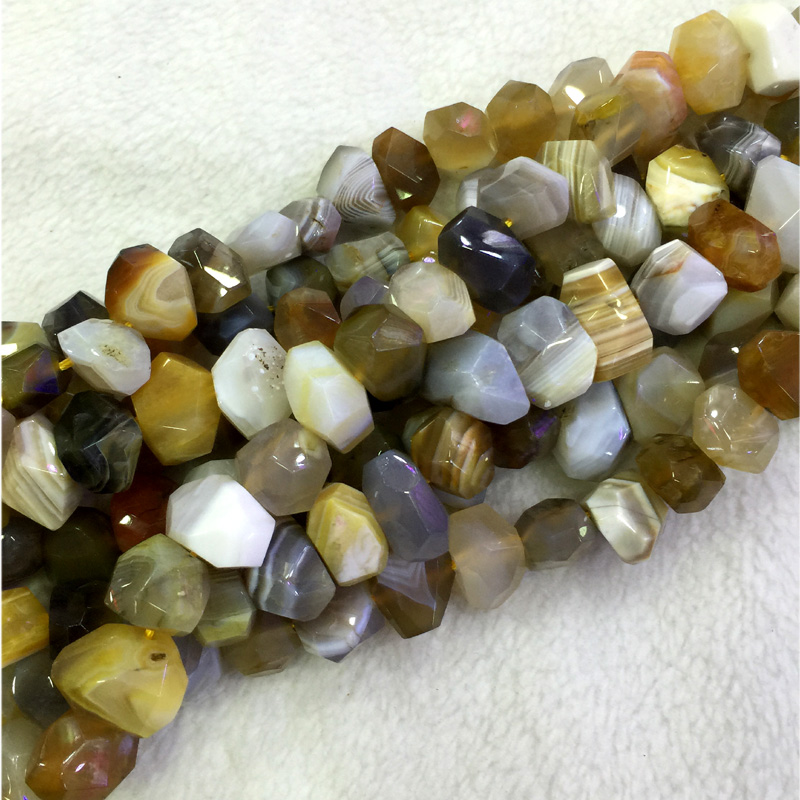 Natural Genuine Gray Yellow Botswana Agate Fortification Onyx Hand Cut Faceted Nugget Free Form Loose Beads 15 04331 tumbled pink botswana agate mostly 5 8 1 1lb bag