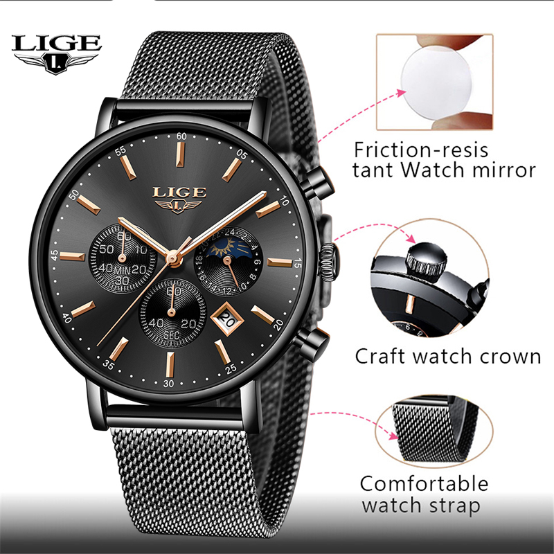 New Mens Watches LIGE Top Brand Luxury Fashion Ultra Thin Quartz Watch Men Moon Phase Business Clock Calendar Waterproof Relojes