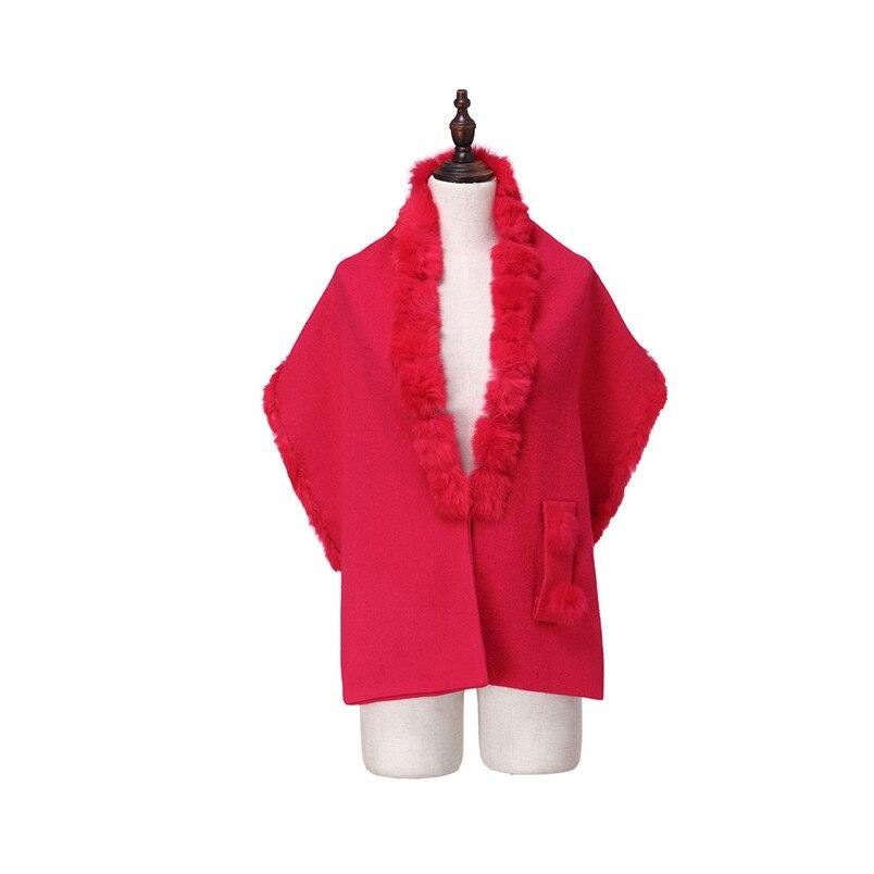 ZY87035 conception spéciale mode automne hiver écharpe en laine avec col de lapin de luxe femmes châle enveloppe Poncho solide - 3