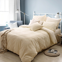Superb Queen Size Cream Solid Color Bed 4pcs Set For Adults Polyester Bedroom  Bedding Sets Sheets Linen