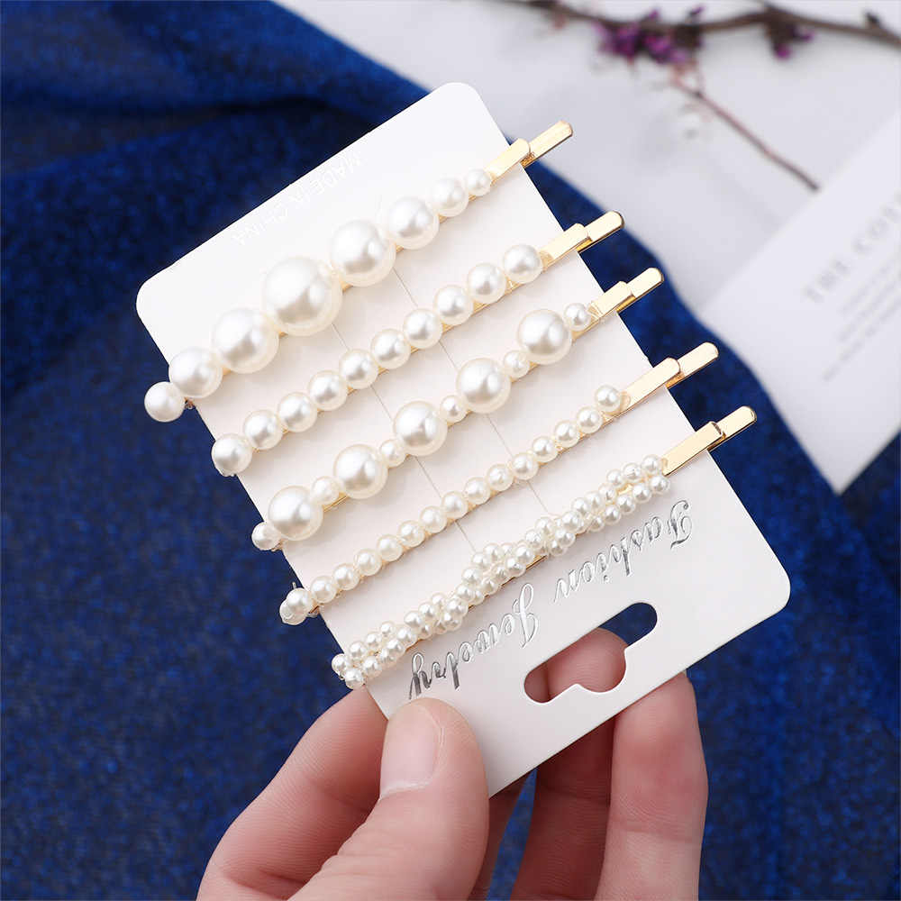 5pcs/lot Fashion Handmade Gold Color Pearl Imitation Hair Clip Snap Barrette Stick Hairpin Hair Styling Accessories For Women