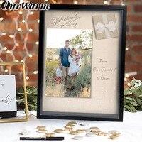 OurWarm Wedding Souvenirs 41.5x33.5cm DIY Wood Shdow Box Frame Linen Inner Display Board Wedding Favors Birthday Party Supplies