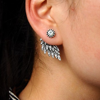 Gothic Silver Color Cool Angel Wings Alloy Stud Earrings Cool Black Feather Earrings for Women Men Fashion Jewelry 2