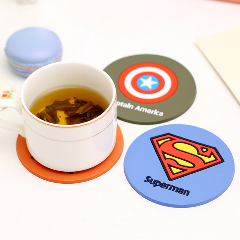 1PCS Hero Superman Silicone Anti Slip Coaster Cup Mat Dish Bowl Pan Placemat Kitchen Accessories D0
