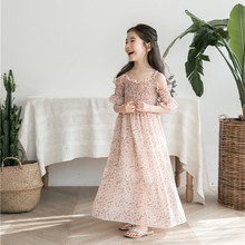 цена на DFXD Children Clothing 2018 Summer Teens Girl Long Sleeve Off Shoulder O-neck Floral Print Chiffon Dress Girls Beach Dress 3-13Y