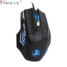 Top Quality Mosunx 5500 DPI 7 Buttons LED Optical USB Wired Gaming Mouse Mice Pro Gamer Ajustable DPI Switch Professional Mouse
