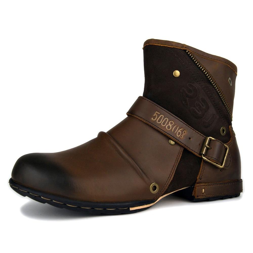 OTTO hommes bottes de moto Vintage bottes de Combat hiver 2018 nouveau pleine fleur en cuir de vache bottines imperméables Zip bottes militaires    1