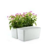 T4U Plastic Rectangular Self Watering Window Box with Water Level Indicator White Modern Decorative Planter Pot Set of 2