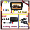 7 LEDs IR Car Camera Parking&4.3 Inch Car Monitor For Camera DVD VCD 2 Video Input For Parking Sensor Kit 4 Sensor 7 Color Radar
