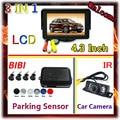 7 LEDs IR Car Camera Parking&4.3 Inch Car Monitor For Camera DVD VCD 2 Video Input For Parking Sensor Kit 4 Sensor 7 Color Radar