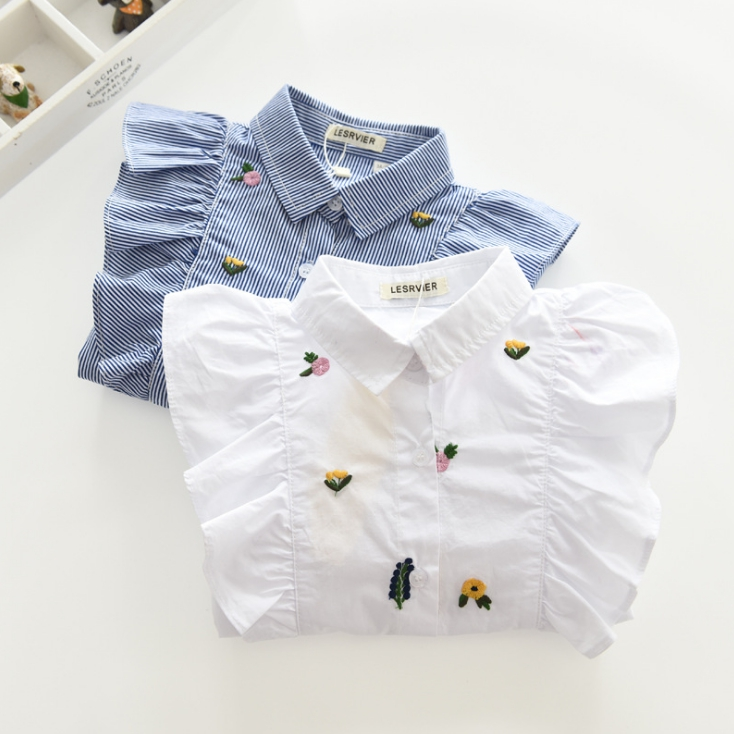 Spring New Fashion Girl Striped Blouses Baby Flower-embroidered Striped Shirts Child Long Sleeve Turn-down Collar Blouses