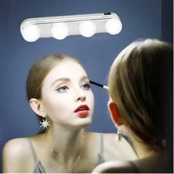 4 лампы зеркало фары Make Up Light супер блестящие светодиодные лампы карманное косметическое зеркало свет набор батареек питание макияж свет