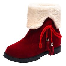 High Heel Ankle Boots Woman Snow Boots Winter Shoes Warm Fur Platform Red Black Color Wedge Ankle Shoes Women zapatos de mujer(China)