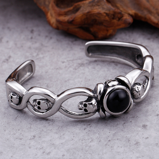 19MM WIDE STAINLESS STEEL SKULL CUFF BANGLES BRACELET