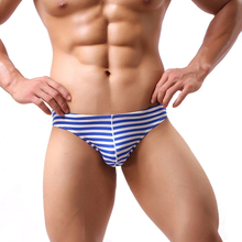 Men Bikini Gay Underwear Male Sexy Striped String Briefs Cuecas Calzoncillos Hombre Slip Cotton Low Rise Mens Panties