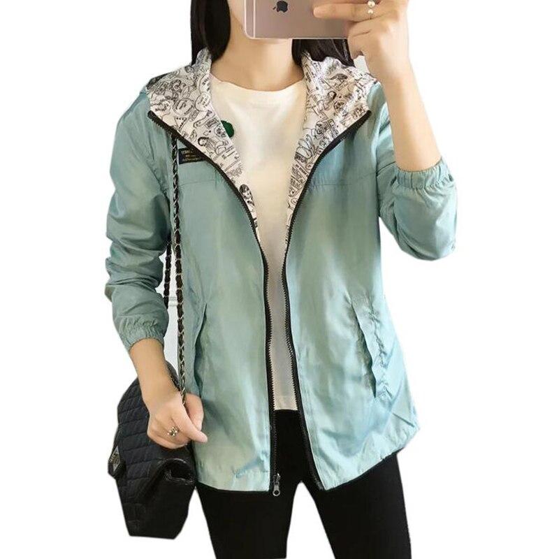 Spring Autumn Women Bomber Basic Jacket Pocket Zipper Hooded Two Side Wear Cartoon Print Outwear Loose Plus Size Coat