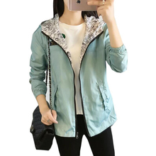 Spring Autumn Women Bomber Basic Jacket Pocket Zipper Hooded Two Side Wear Cartoon Print Outwear Loose Plus Size Coat