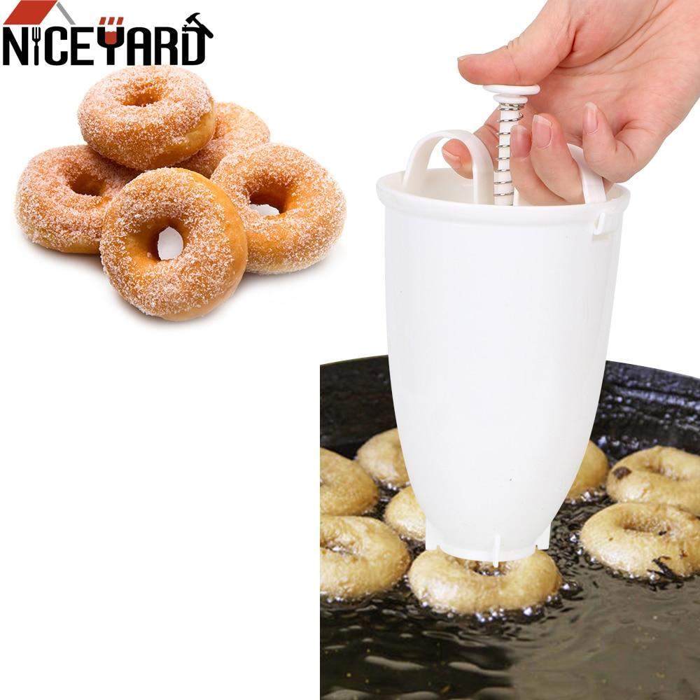 도넛 형 간편한 빠른 휴대용 도넛 제조기 수동 와플 디스펜서 도넛 기계 아랍어 와플 플라스틱 경량 딥 프라이