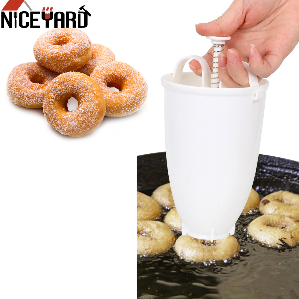 Molde de donut fácil rápido portátil donut maker manual waffle dispenser donut máquina waffle árabe plástico leve fritar profundo