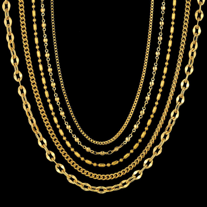 5 Types of Womens Golden Chain Necklace For Women/Men Trendy Necklace Gold Color Stainless Steel Link Chain For Pendant Jewelry