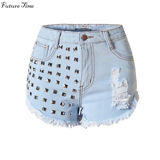 2017 pantalones cortos de las mujeres ripped jeans cortos agujero borla del remache bolsillos atractivo del estiramiento de cintura alta pantalones cortos de mezclilla de verano hot shorts C0402