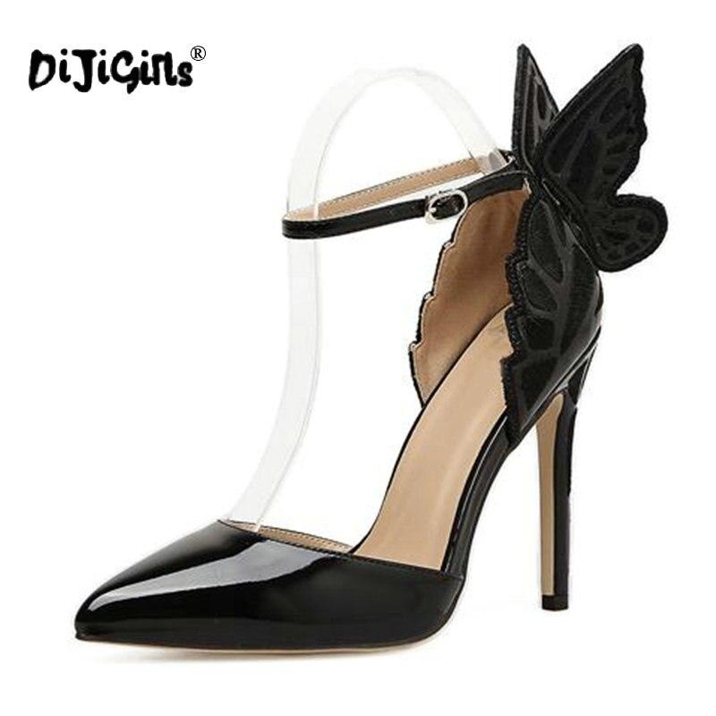 as Des 40 Wing Femmes Mode Vendu Talon Sexy Sangle Boucle Parti Papillon 35 Picture Pompes Pointu Chaussures Haut Bout sliver Dijigirls Black Top Taille f4SBwq