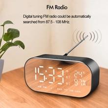 4 Colors Bluetooth Speaker Alarm Clock FM Radio Wireless Stereo Dual Units LED Display Mirror Music Box Subwoofer Portable Audio